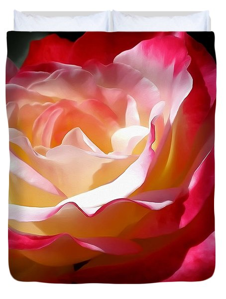 Double Delight Rose Duvet Cover by Kaye Menner