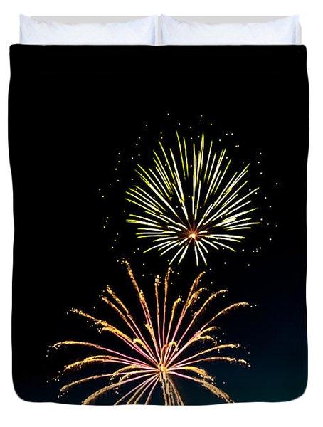 Double Fireworks Blast Duvet Cover by Robert Bales