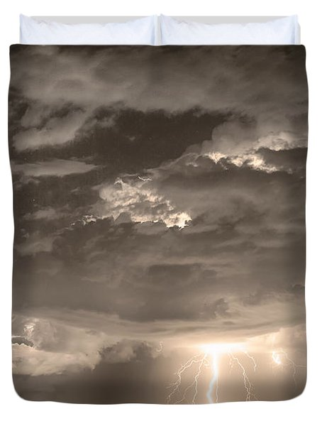 Double Lightning Strikes in Sepia HDR Duvet Cover by James BO  Insogna