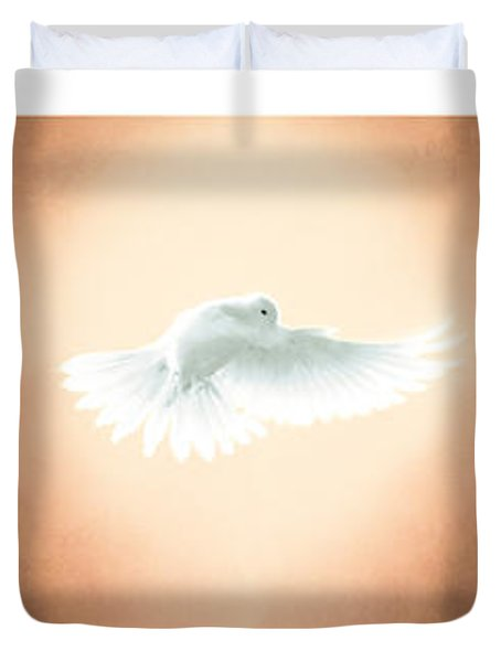 Dove In Flight Triptych Duvet Cover by YoPedro