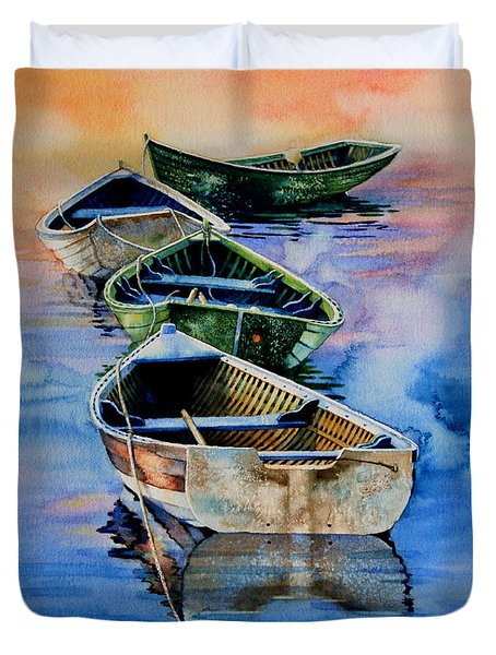 Down East Dories At Dawn Duvet Cover by Hanne Lore Koehler