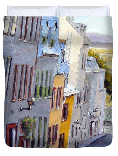 Down The Hill Old Quebec City Duvet Cover by Richard T Pranke