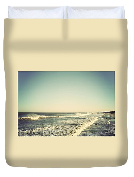 Down The Shore - Seaside Heights Jersey Shore Vintage Duvet Cover by Terry DeLuco