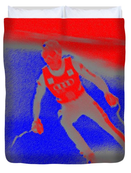 Downhill Skier Duvet Cover by George Pedro