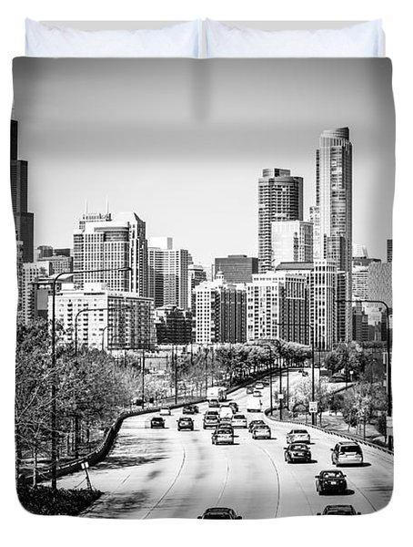 Downtown Chicago Lake Shore Drive In Black And White Duvet Cover by Paul Velgos