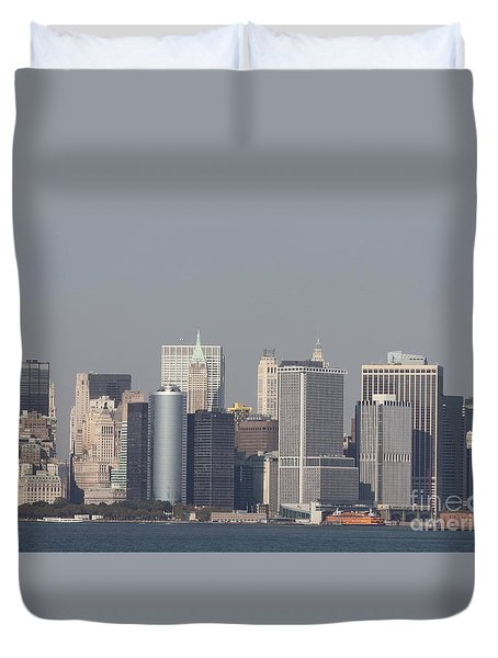 Downtown Manhattan Shot From The Staten Island Ferry Duvet Cover by John Telfer