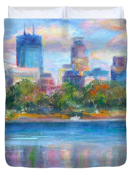Downtown Minneapolis Skyline from Lake Calhoun Duvet Cover by Quin Sweetman