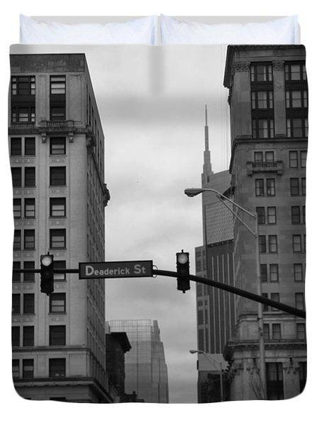 Downtown Nashville In Black And White Duvet Cover by Dan Sproul