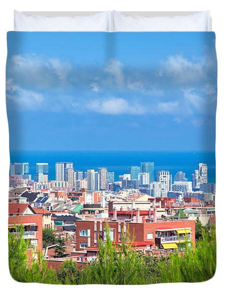 Downtown Panorama Of Barcelona Duvet Cover by Michal Bednarek