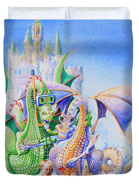 Dragon Castle Duvet Cover by Hanne Lore Koehler