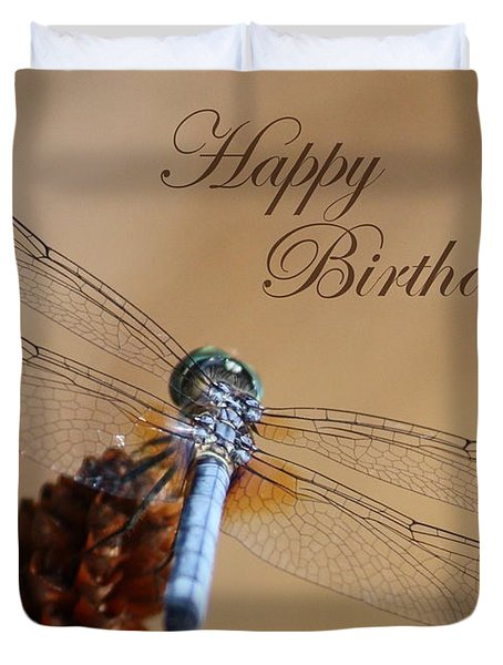 Dragonfly Birthday Card Duvet Cover by Carol Groenen