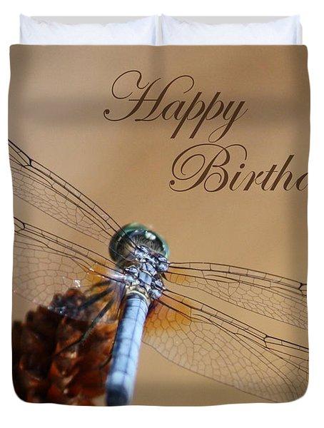 Dragonfly Birthday Card Duvet Cover by Carol Groenen