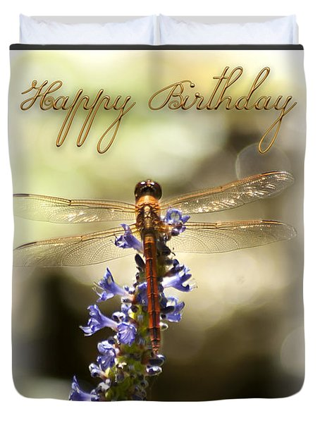 Dragonfly Birthday Card Duvet Cover by Carolyn Marshall