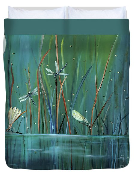 Dragonfly Diner Duvet Cover by Carol Sweetwood