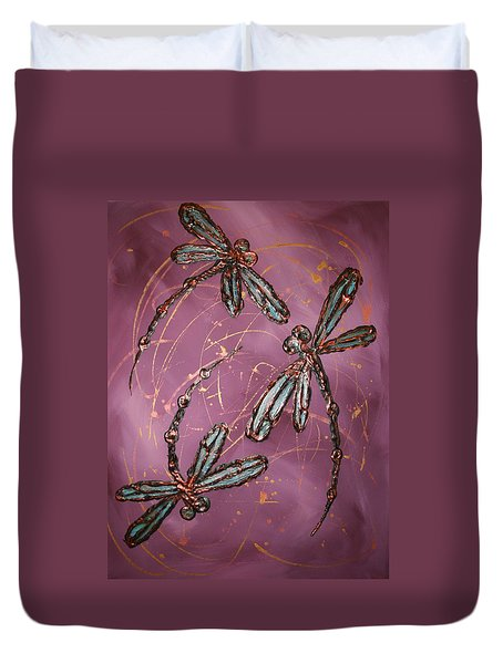 Dragonfly Flit - Dusky Pink Duvet Cover by Lyndsey Hatchwell