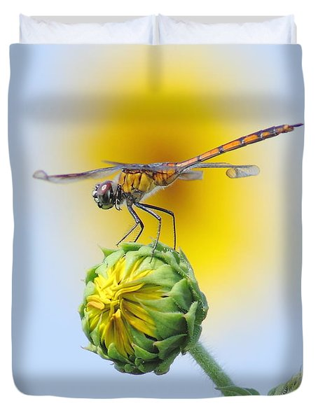 Dragonfly In Sunflowers Duvet Cover by Robert Frederick