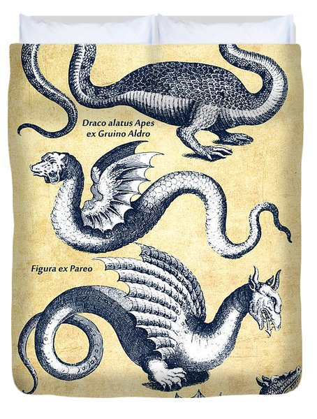 Dragons - Historiae Naturalis  - 1657 - Vintage Duvet Cover by Aged Pixel