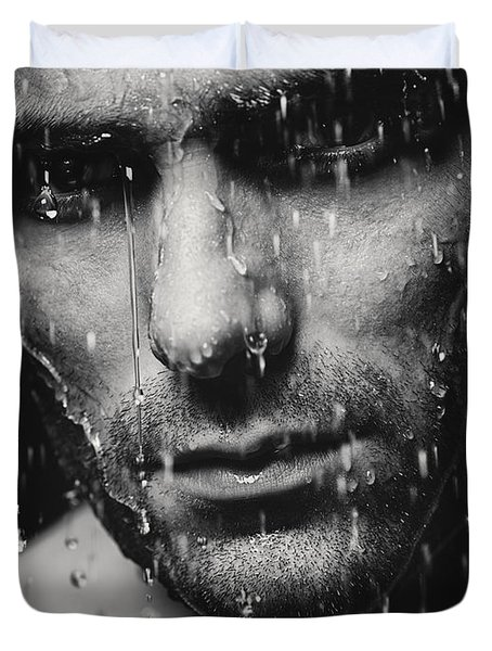 Dramatic Portrait Of Man Wet Face Black And White Duvet Cover by Oleksiy Maksymenko