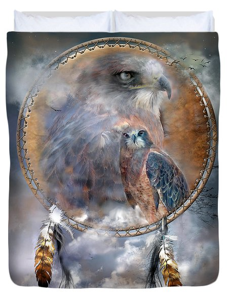 Dream Catcher - Hawk Spirit Duvet Cover by Carol Cavalaris