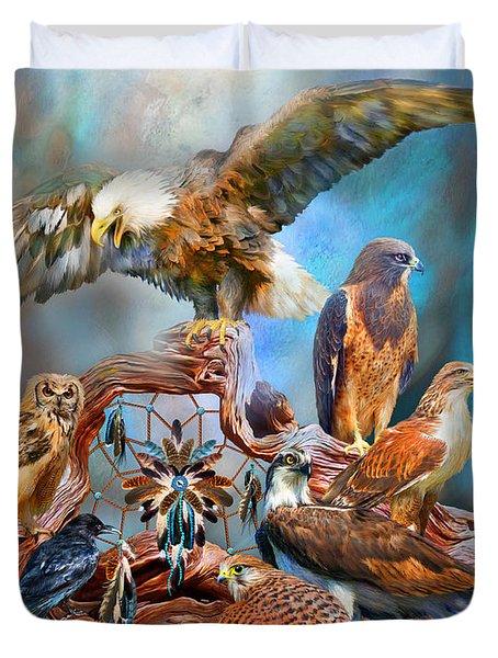 Dream Catcher - Spirit Birds Duvet Cover by Carol Cavalaris
