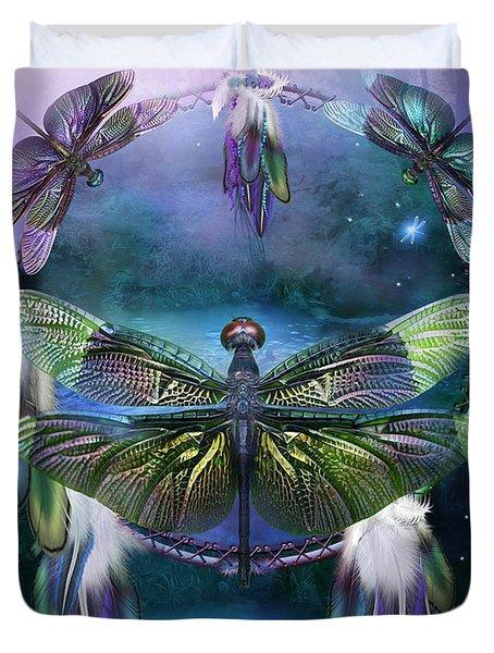 Dream Catcher - Spirit Of The Dragonfly Duvet Cover by Carol Cavalaris