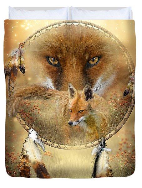 Dream Catcher- Spirit Of The Red Fox Duvet Cover by Carol Cavalaris