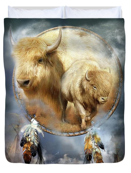 Dream Catcher - Spirit Of The White Buffalo Duvet Cover by Carol Cavalaris