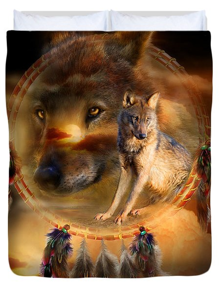 Dream Catcher - WolfLand Duvet Cover by Carol Cavalaris