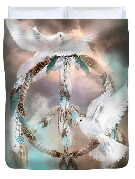Dreams Of Peace Duvet Cover by Carol Cavalaris