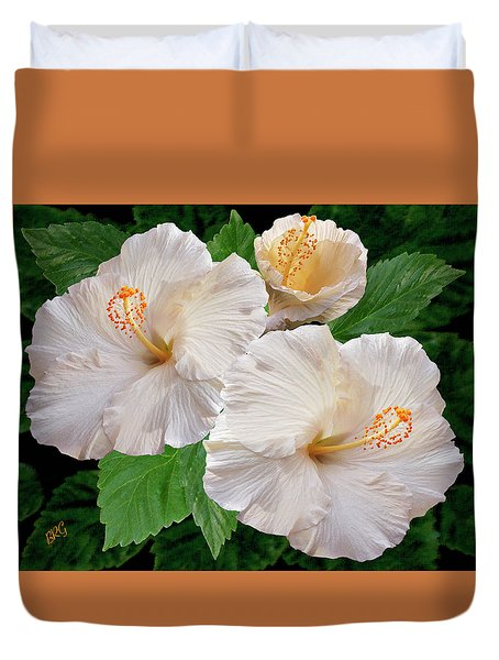 Dreamy Blooms - White Hibiscus Duvet Cover by Ben and Raisa Gertsberg