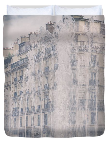 Dreamy Paris Fountains Duvet Cover by Nomad Art And  Design