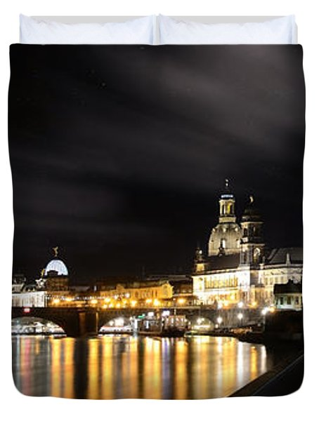 Dresden At Night Duvet Cover by Steffen Gierok