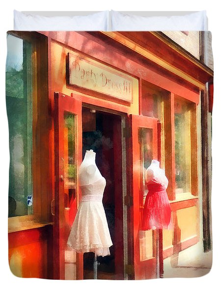 Dress Shop Fells Point Md Duvet Cover by Susan Savad