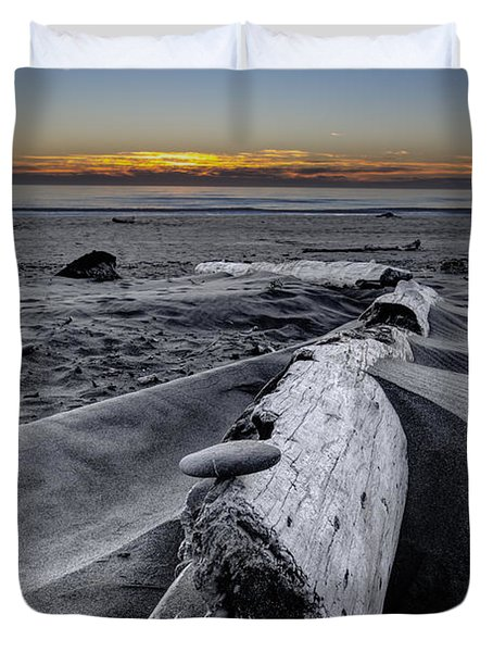 Driftwood In The Sand Duvet Cover by Debra and Dave Vanderlaan