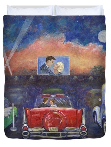 Drive-in Movie Theater Duvet Cover by Linda Mears