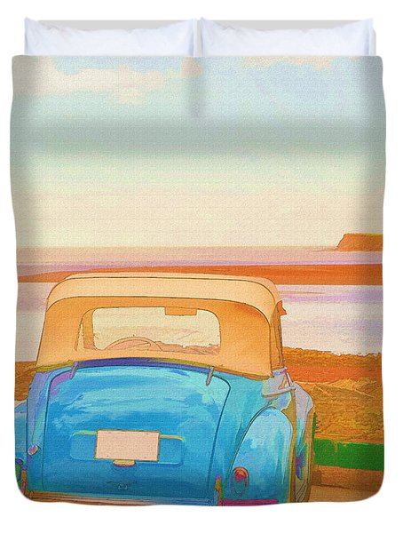 Drive To The Shore Duvet Cover by Edward Fielding