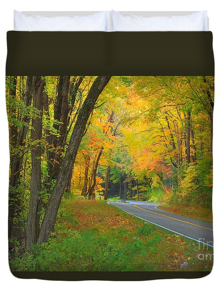 Driving Into Fall Duvet Cover by Geraldine DeBoer