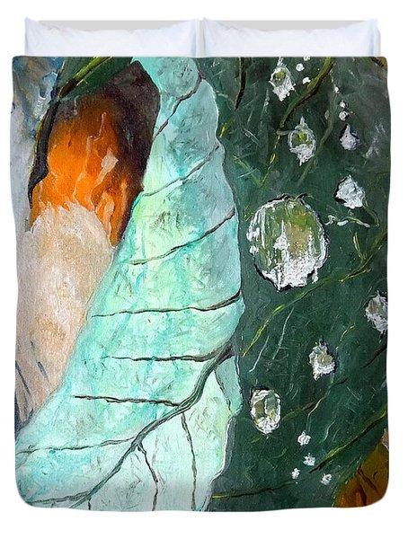 Drops on a leaf Duvet Cover by Daniel Janda