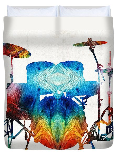 Drum Set Art - Color Fusion Drums - By Sharon Cummings Duvet Cover by Sharon Cummings