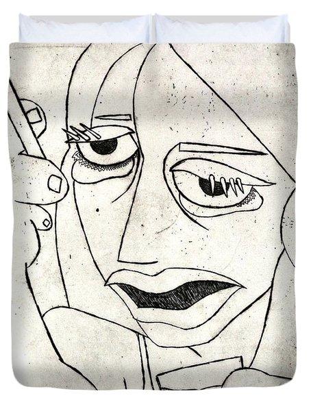 Drunk Girl Duvet Cover by Thomas Valentine