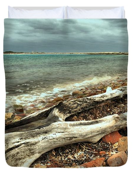 Dry Tortugas Driftwood Duvet Cover by Adam Jewell