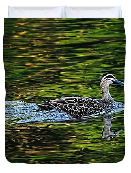 Ducks On Green Reflections - Panorama Duvet Cover by Kaye Menner