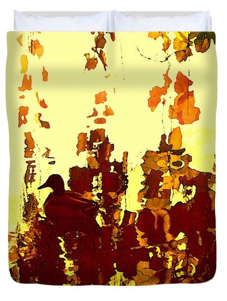 Ducks On Red Lake 2 Duvet Cover by Amy Vangsgard