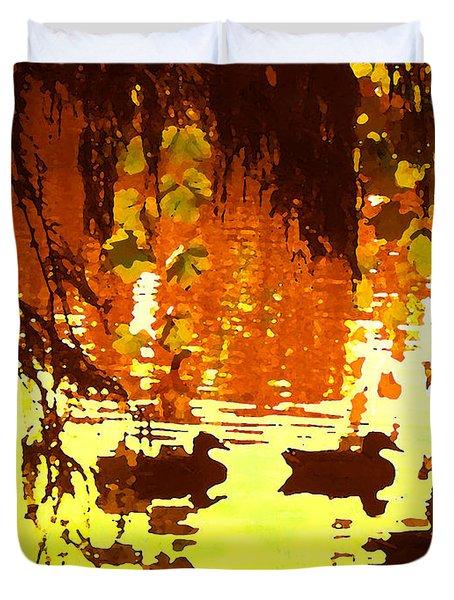 Ducks On Red Lake Duvet Cover by Amy Vangsgard