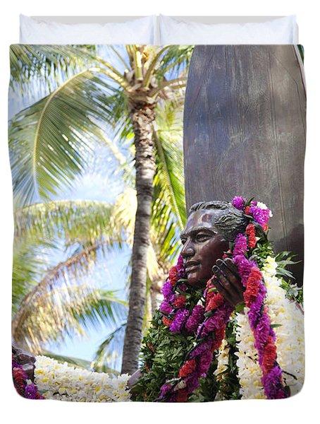 Duke Kahanamoku Covered In Leis Duvet Cover by Brandon Tabiolo