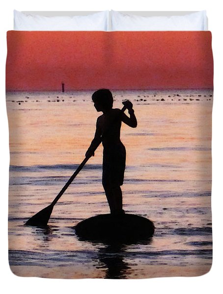 Dusk Float - Sunset Art Duvet Cover by Sharon Cummings