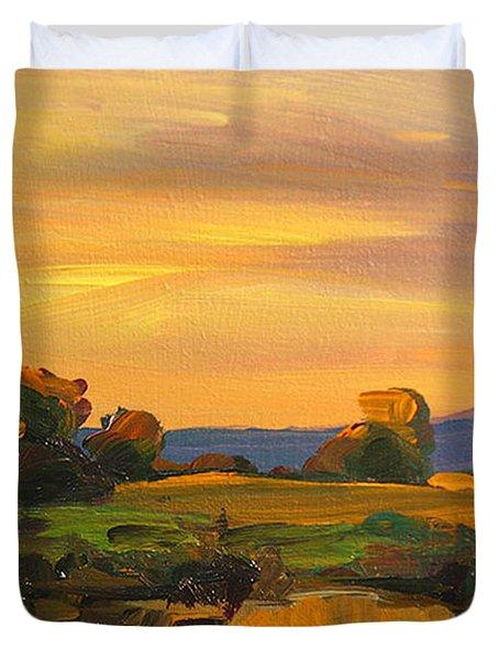 Dusk In Essex Duvet Cover by Savlen Art