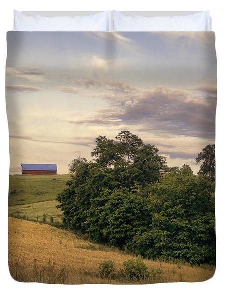 Dusk On The Farm Duvet Cover by Heather Applegate