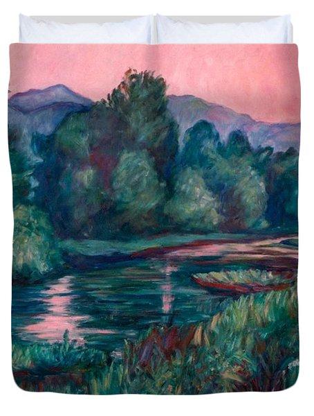 Dusk On The Little River Duvet Cover by Kendall Kessler