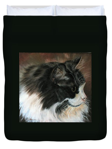 Dusty Our Handsome Norwegian Forest Kitty Duvet Cover by LaVonne Hand